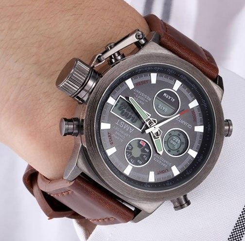 армейский часы amst металлическим браслетом периодически