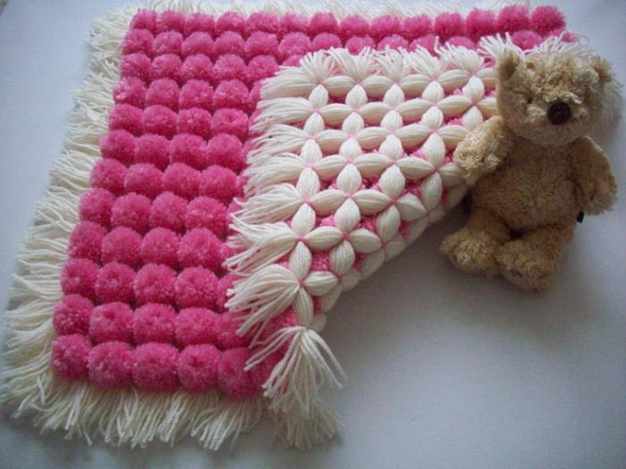 Одеяло из помпонов своими руками мастер