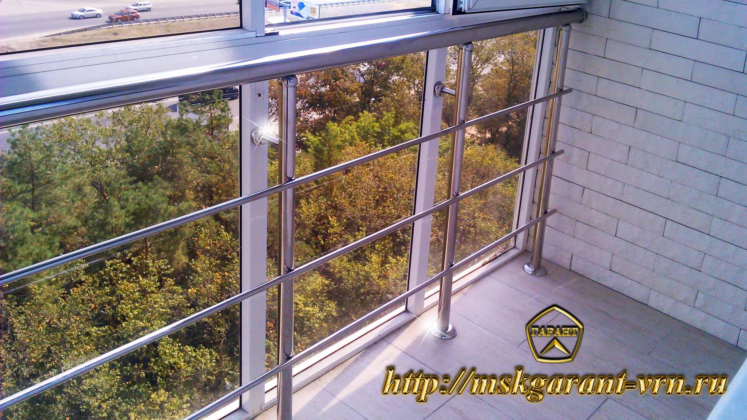 Ограждения балконов,лоджий.террас из нержавейки строительные.