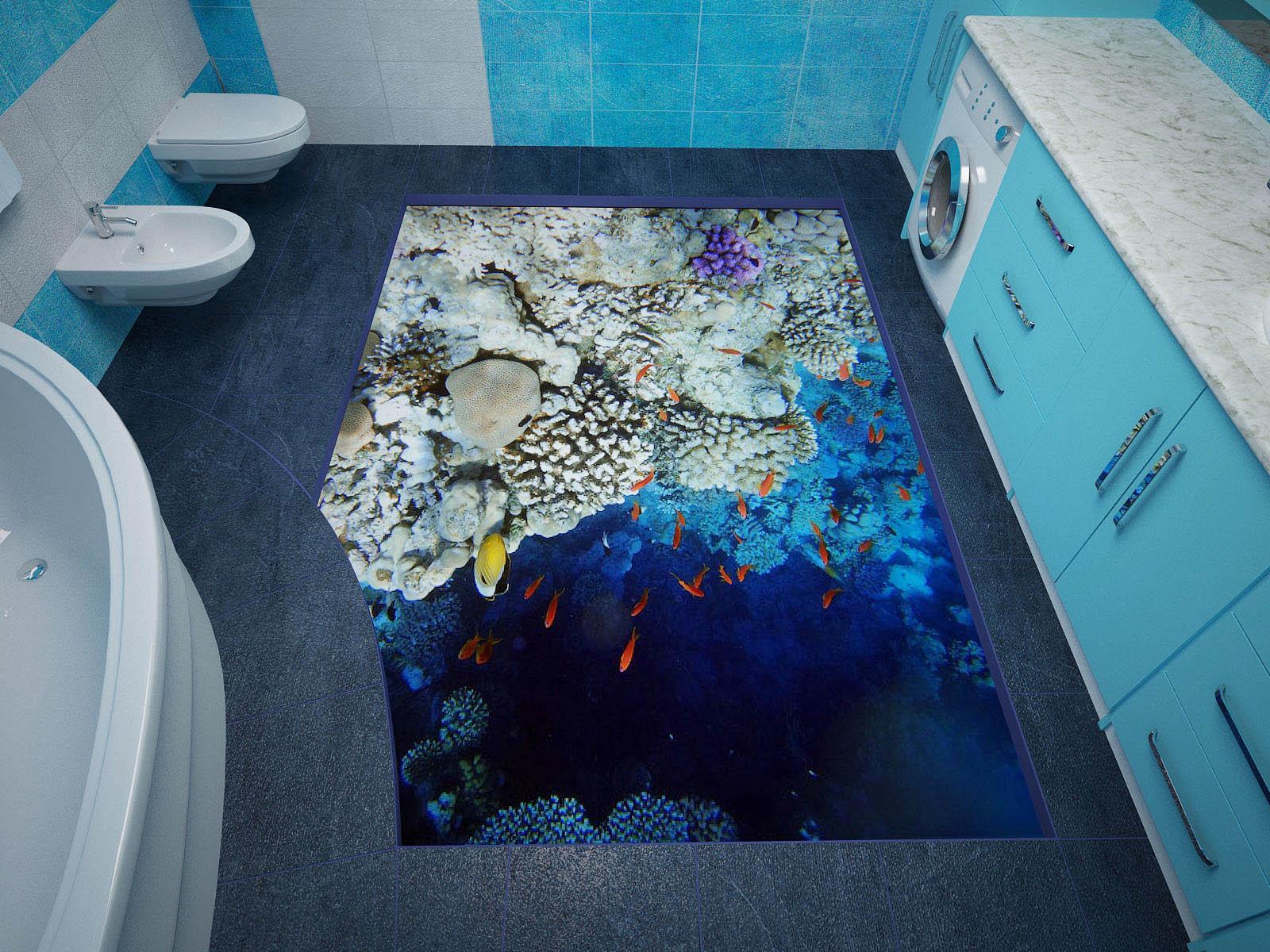 Дизайн пола в ванной комнаты