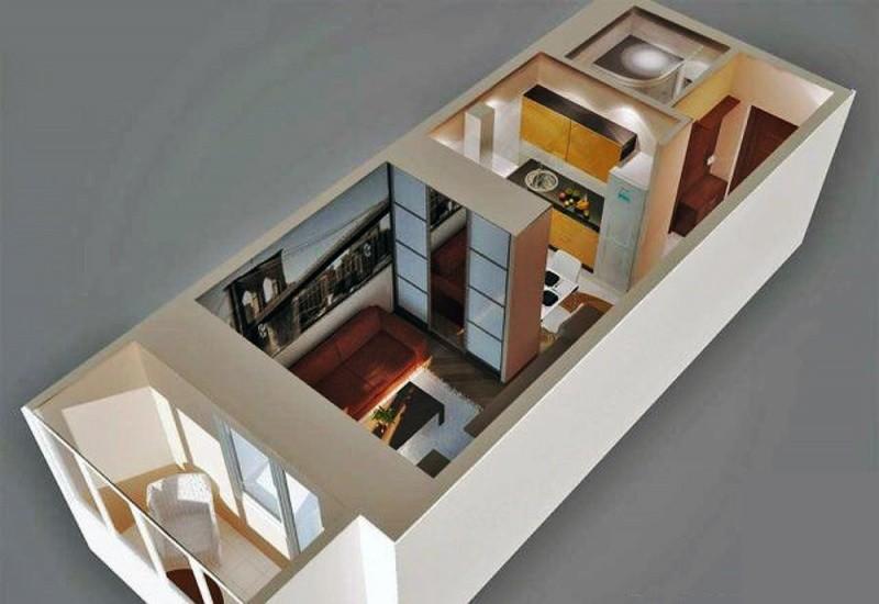 Дизайн квартиры студии 24 кв