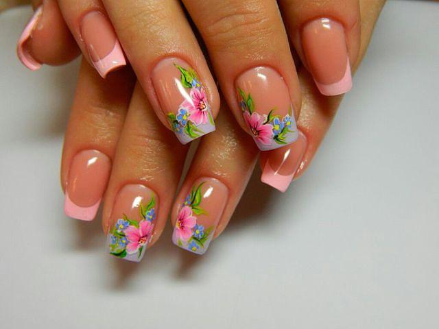 Ногти дизайн цветок френч