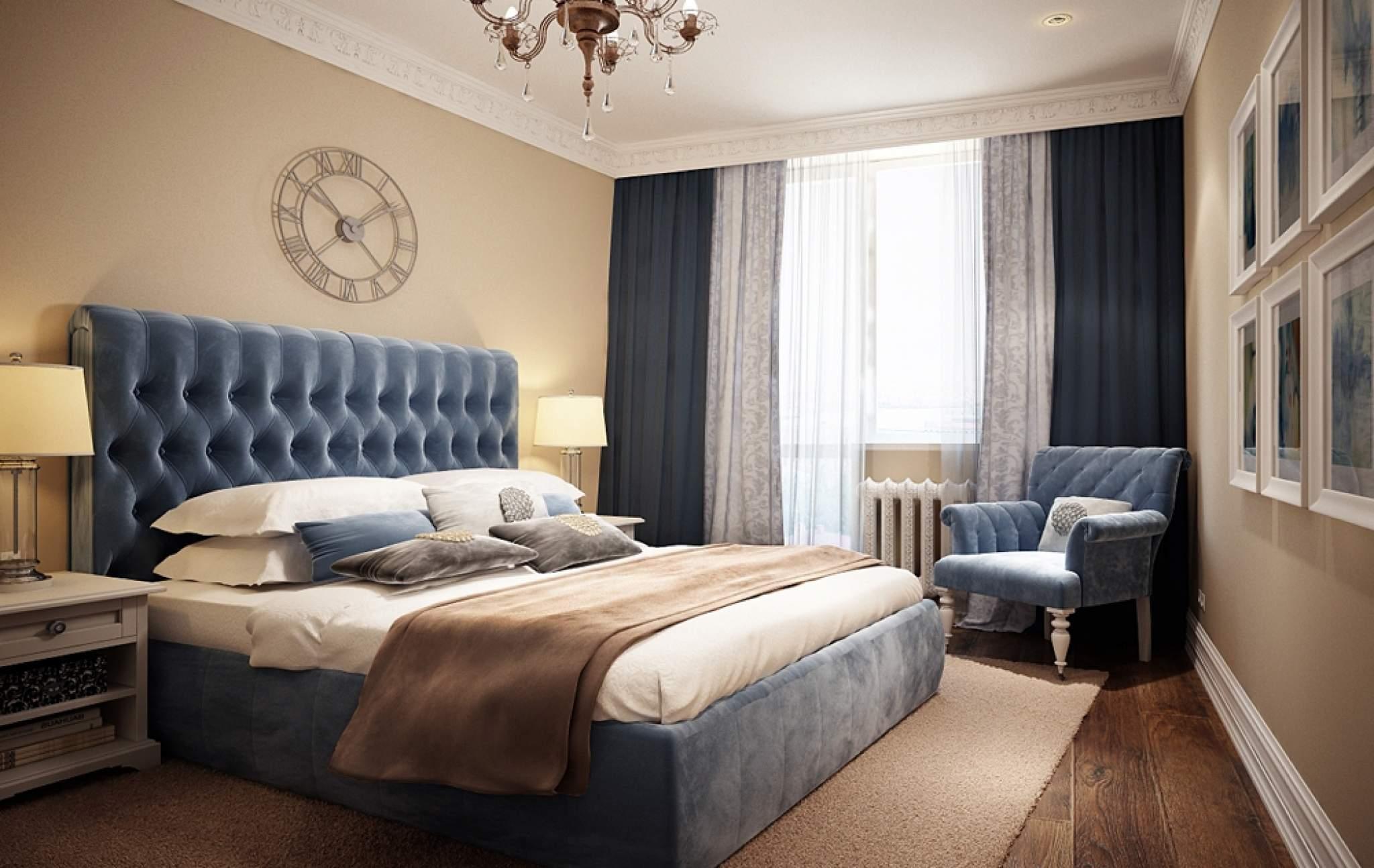 80Спальня дизайн синий