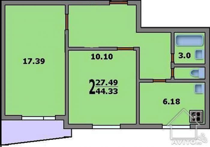 Дома серии ii-57 - 3d планировка 2-комнатной квартиры вариан.